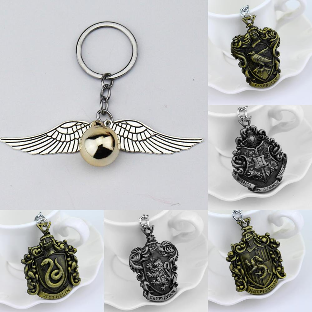 Magic Novel Vintage Snitch Keychain Classic Hogwarts Houses Key Chain Alloy Magic Wand Keyring Gifts Toy For Man