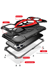 Image 3 - 360 tam koruyucu iphone için kılıf X XS MAX XR darbeye dayanıklı yumuşak silikon Metal alüminyum arka kapak telefon iphone için kılıf 11 Pro