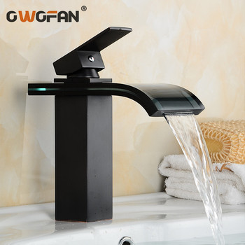 Retro Bathroom Basin Waterfall Faucet Oil Rubbed Bronze Black Faucet Hot and Cold Water Mixer Single Handle Sink Taps LH-16821 black oil rubbed bronze single lever handle bathroom vessel sink faucet mixer taps ahg023