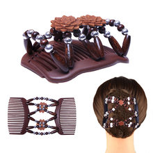 Double Beaded Hair Magic Comb Clip Beads Elasticity Hairpin Stretchy Hair Combs for Women Hair Accessories hair brush beard comb(China)