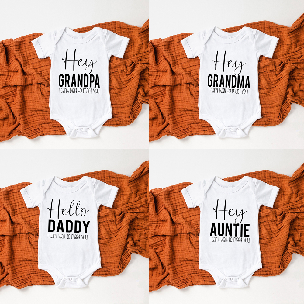 Hey Daddy/grandma/grandpa/auntie I Can't Wait To Meet You Newborn Baby Summer Short Sleeve Bodysuits Casual Baby Playsuit Onesie