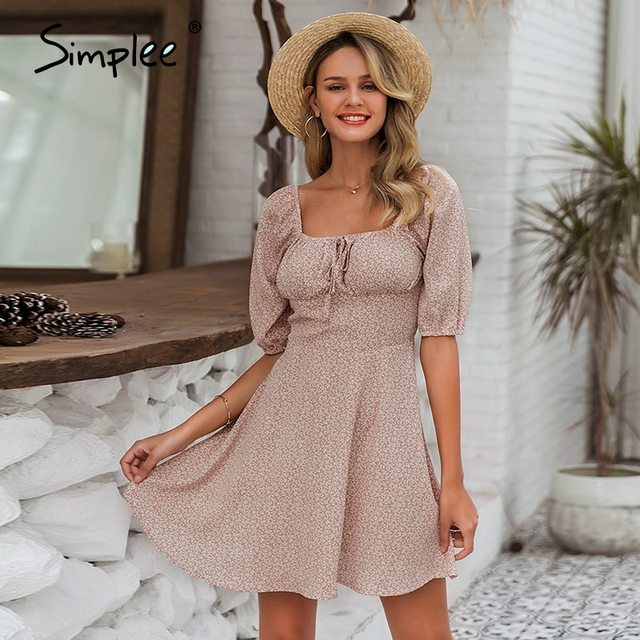 Simple Elegant square collar summer chiffon ruffled boho dress  1