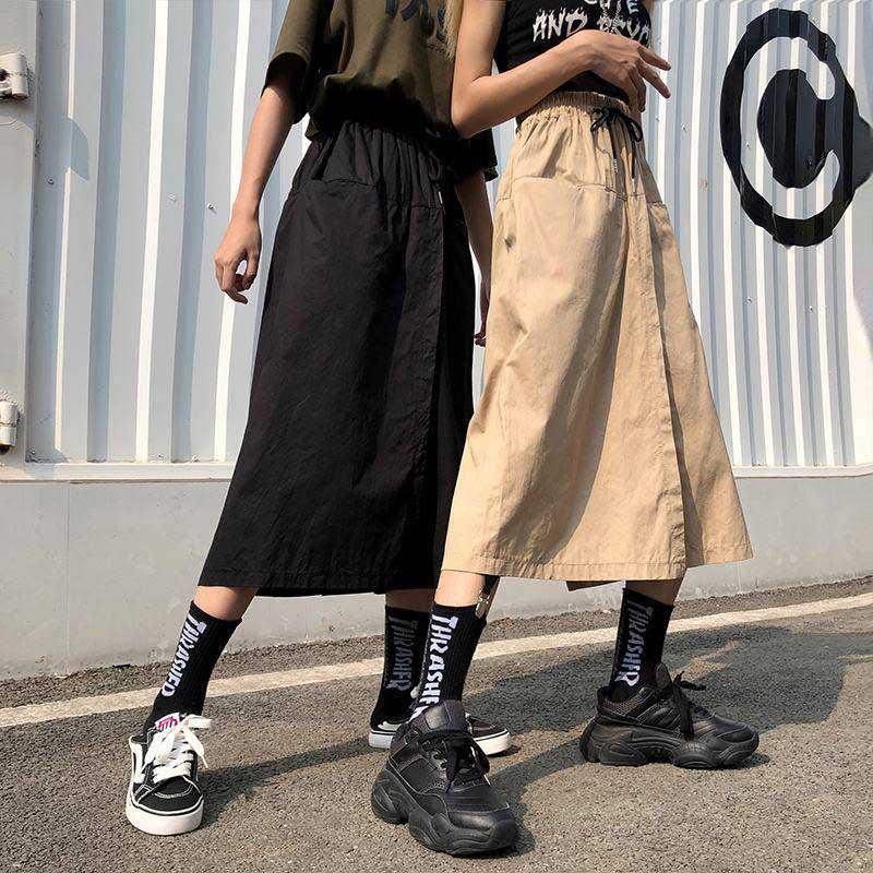 NiceMix Harajuku Wide Leg Skirts Capri Pants Women High Waist Trousers Streetwear 2020 Autumn Korean Cargo Pants Pantalones Muje