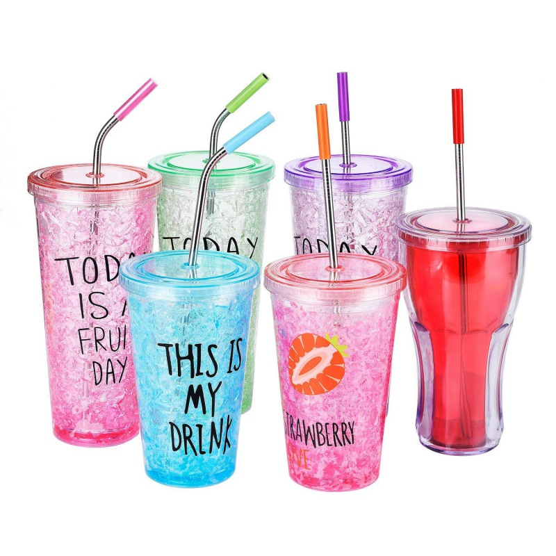 Stainless Steel Straws with Cleaning Brush and Silicon Covers Drinking Cups Travel Mug Widen Straws for Thick Drinks Wholesale