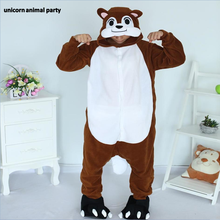 Kigurumi Cartoon Animal Brown Chipmunk Onesie Unisex Adult Pajamas Cosplay Costumes Sleepsuit Sleepwear Halloween and Carniva