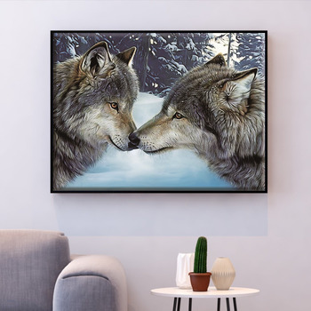 HUACAN Cross Stitch Embroidery Kits 14CT Wolf Animal Cotton Thread Painting DIY Needlework Home Decoration - discount item  40% OFF Arts,Crafts & Sewing
