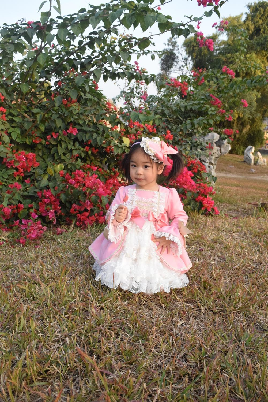 Girl Winter Spring Autumn Wool Pink Long Sleeve Vintage Spanish Lolita Princess Ball Gown Dress for Girl Birthday Eid Casual 4