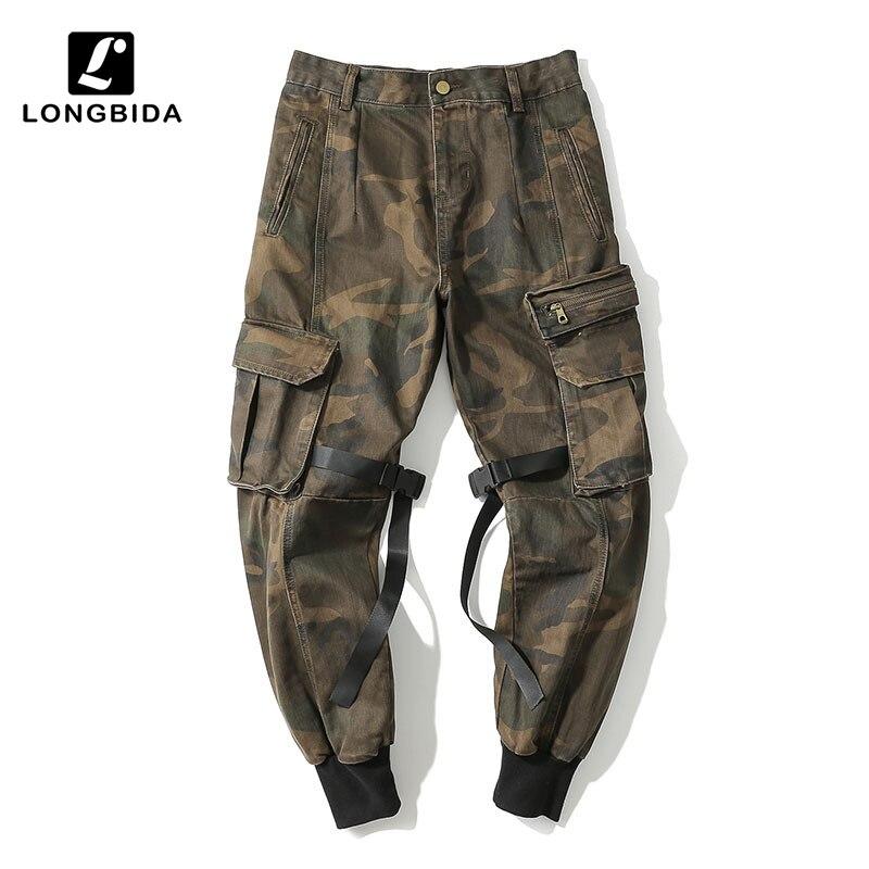LONGBIDA 2019 Camouflage hommes Cargo pantalon tactique Streetwear pantalon décontracté Camo noir pantalon Multi poche Harem pantalon