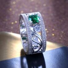 Ustar выдалбливают цветок зеленый камень обручальные кольца