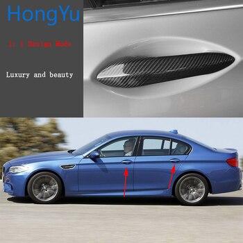 for BMW M5 F10 2012 2013 2014 Auto Exterior Carbon Fiber Made Door Handle Cover Sticker Decorations Overlay Trim