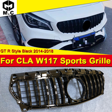 CLA-Class W117 GT R Style Front Grille ABS Gloss Black CLA200 CLA250 CLA300 CLA45 Without sign Bumper 2014-18