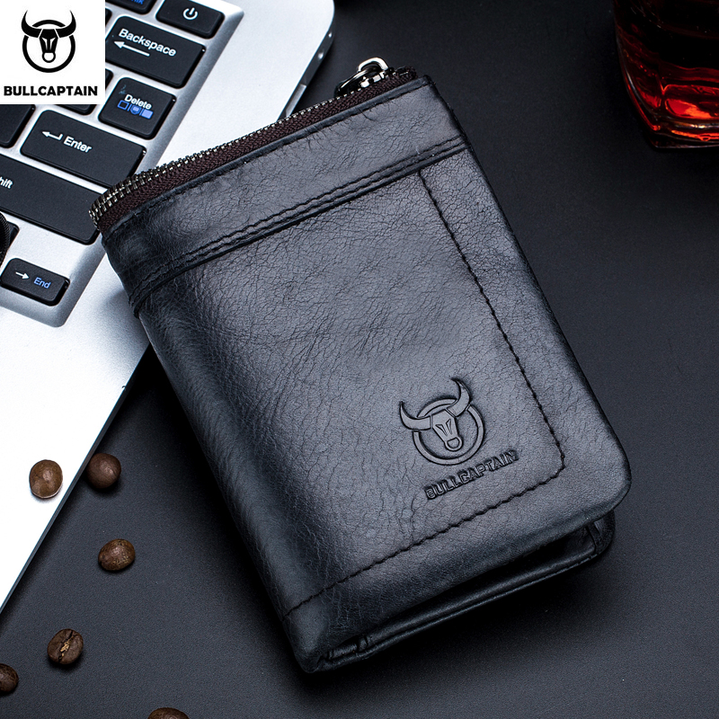 BULLCAPTAINfashion2019leather Men's Wallet Retro Short Wallet Clutch Bag Male Zipper Wallet Card Package Business Leisure Wallet