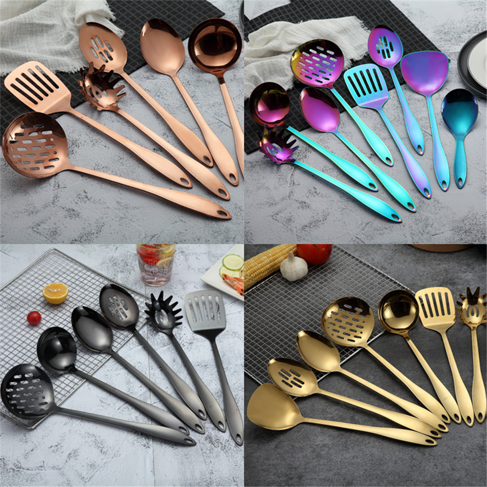 Image 5 - Stainless Steel Cooking Tool Set Shovel Soup Noodles Spoon Set  Long Handle Kitchen Tool Accessories With Storage Tube 7 PcsTurners