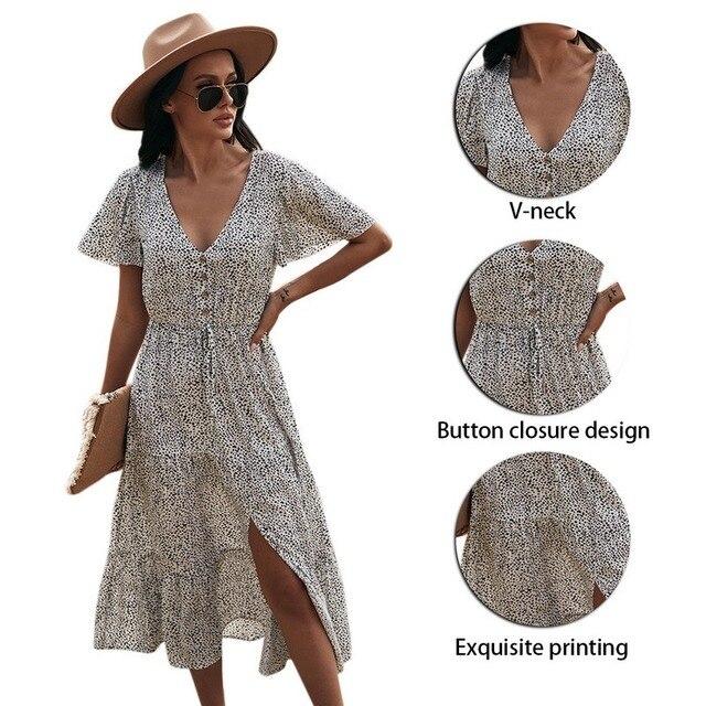 Floral Print Maxi Dress Women Boho Elegant V Neck Long Shirt Dress Summer Short Sleeve Long Dress Ladies 2021 Beach Sundress 5