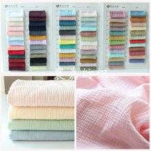 100% algodão duplo-camada gaze crepe roupas de bebê tecido senhoras saia pijamas tecido 38 cor novo personalizado