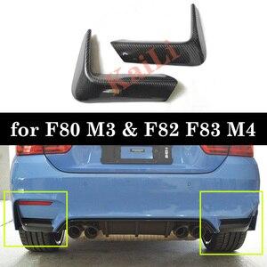 Image 1 - 1 ペア車のリアバンパーリップスプリッタディフューザー低コーナーカバートリム bmw F80 M3 F82 F83 M4 2015 2018 リアルカーボン