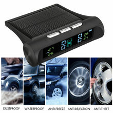 Car TPMS Wireless Solar Auto Tire Pressure Monitoring System with 4 Sensors for Truck SUV Van Tractor Truck Camper Trailer & RV careud t801 nf auto car tpms tire pressure solar panel monitoring system with 4 internal sensors
