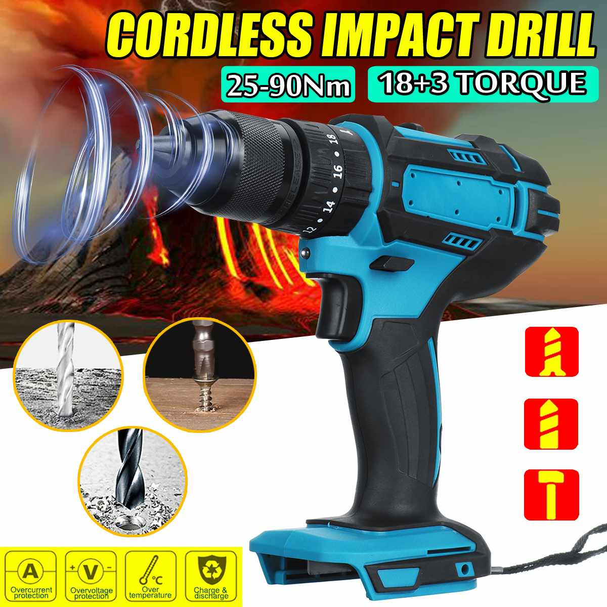 18V 3 in 1 Electric Cordless Impact Drill 13mm Rechargable Electric Screwdriver Drill for Makita Battery Power Tool