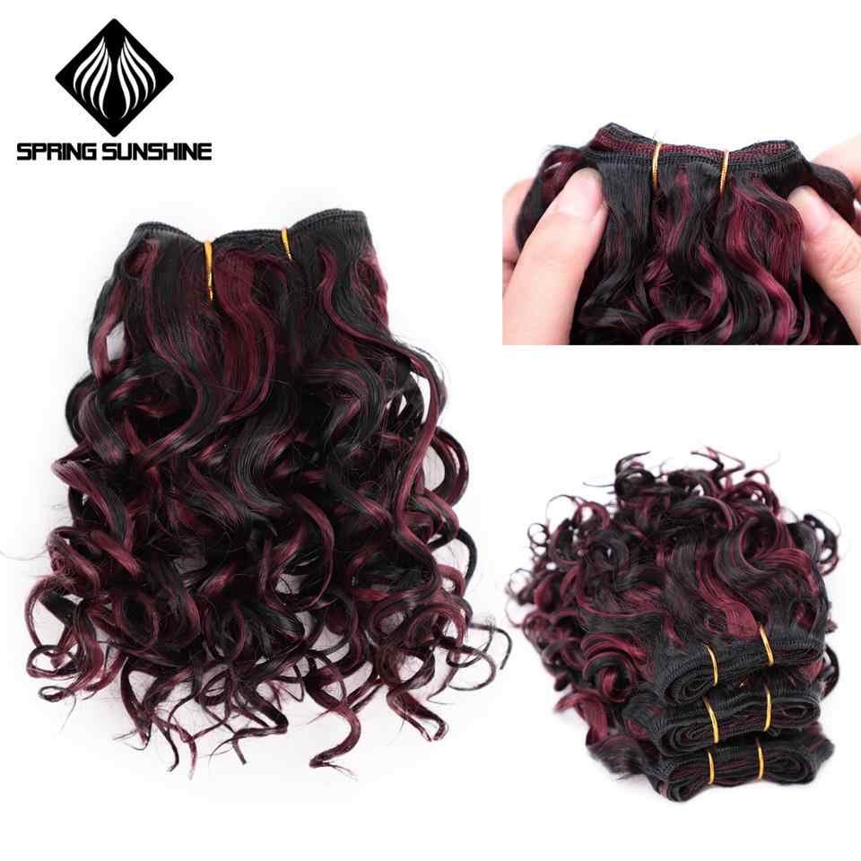 Lente Sunshine Afro Kinky Krullend Synthetisch Haar Inslag Extensions Haak Hair Weave 3 Stk/partij Ombre Hair Weavings Hoge Temperatuur