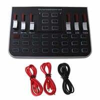 1 Juego de tarjeta de sonido en vivo F8, versión en inglés, 6 modos de micrófono mezclador de voz, transmisión web para teléfono y PC