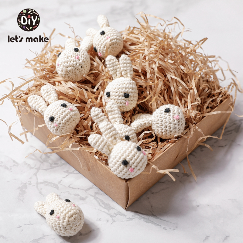 Let's Make Crochet Beads 10pcs Panda Rabbit DIY Baby Teether Toy Gift Teething Rodent Baby Products For Newborns Cotton PVC Free