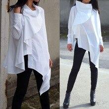 2019 Celmia Autumn Women Fashion Asymmetrical Shirt Casual Buttons Ruffles