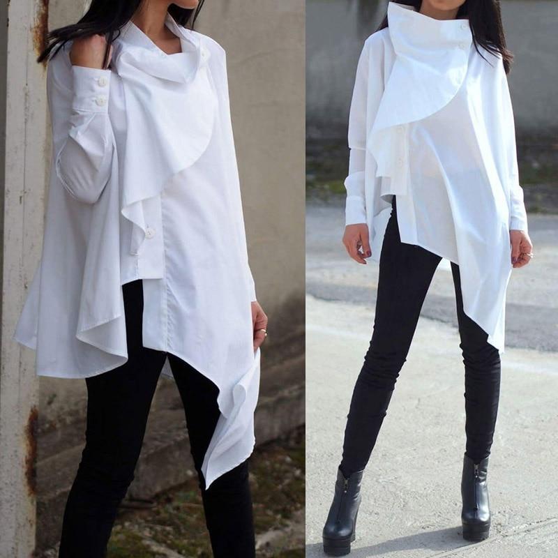 2020 Celmia Autumn Women Fashion Asymmetrical Shirt Casual Buttons Ruffles Blouse Long Sleeve Loose Vintage Top Pleated Blusas 7