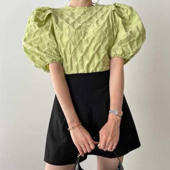 [EWQ] korea Trendy women casual fashion o neck solid pleated puff sleeve shirt+elastic high waist shorts suit summer 2021 6E1111 1