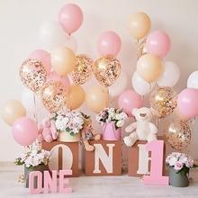 Розовые воздушные шары счастливый ребенок 1 день рождения подарок цветок плюшевый медведь ребенок портрет фото фон фотосессия фотография фон