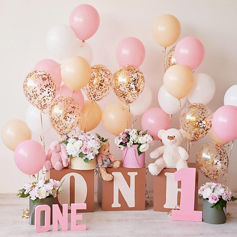 Globos rosas feliz bebé 1 er cumpleaños fiesta regalo flor oso de peluche retrato de bebé Foto fondo fotografía photocall telón de fondo