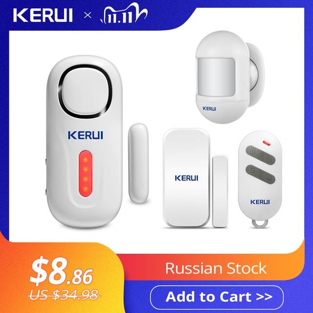 KERUI 120DB אלחוטי דלת/חלון כניסת אבטחת פורץ חיישן PIR דלת מגנטית מעורר מערכת אבטחה עם שלט רחוק
