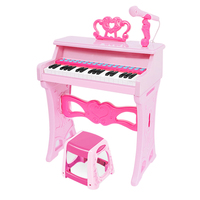 Children Upright Keyboard Beginner Small Electronic Keyboard Toy With Microphone Early Developmental Educational Toy Pink White
