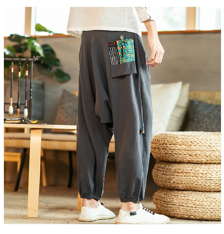 Sinicism Store Chinese Cross-Pants Men 2020 Autumn Oversize Fashion Mens Patchwork Button Pants Male Wide-legged Loose Pants 60