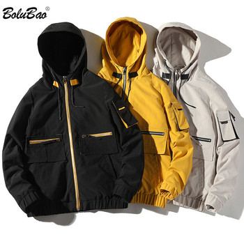 BOLUBAO New Men's Jackets Fashion Hooded Trend Jacket Male Casual High Quality Zip Pocket Decoration Jackets Coat Men cut and sew panel pocket decoration coat