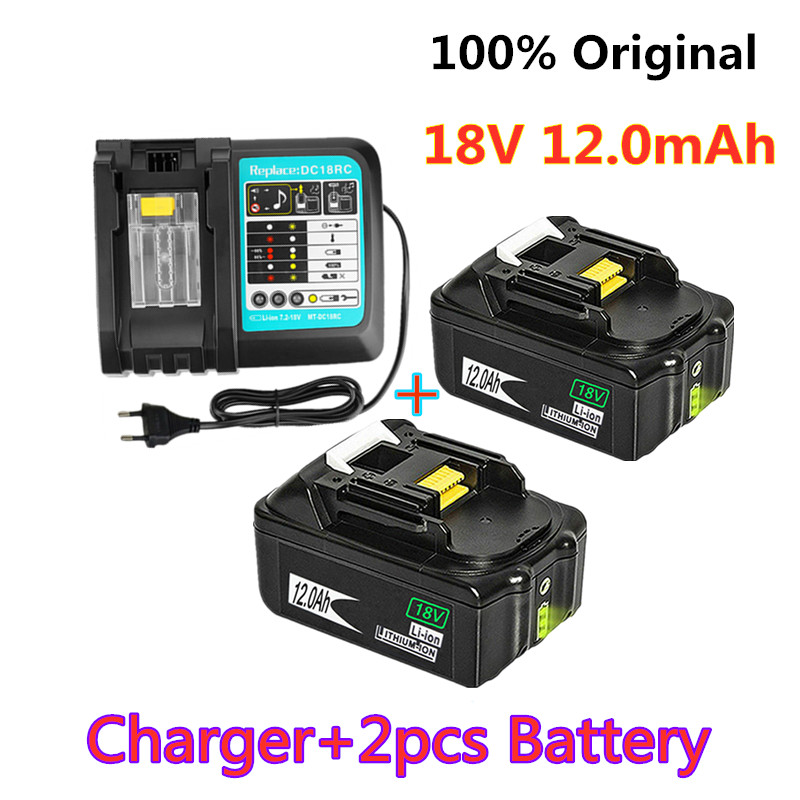 18V 12.0Ah Rechargeable Battery12000mAh Li-Ion Battery Replacement Power Tool Battery For MAKITA BL1880 BL1860 BL1830+3A Charger