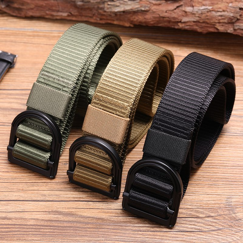 Men/'s BLACK Outdoor Sports Military Tactical Nylon Waistband Canvas Web Belt ONE