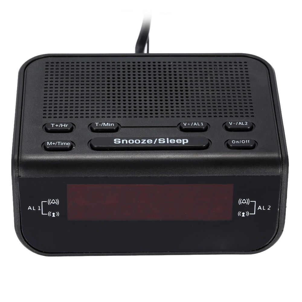 モダンなデザインのコンパクトデジタルアラーム時計 FM ラジオデュアル警報ブザースヌーズ睡眠機能赤色 Led 時刻表示 klok