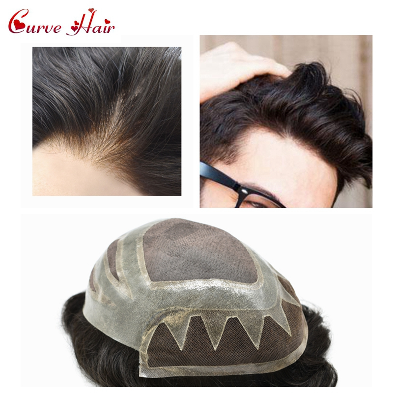 French Lace Front Black Hair Mens Toupee 120% Medium Density Hair System  Remy Hair Replacment Thin Skin Hairpiece 1B#