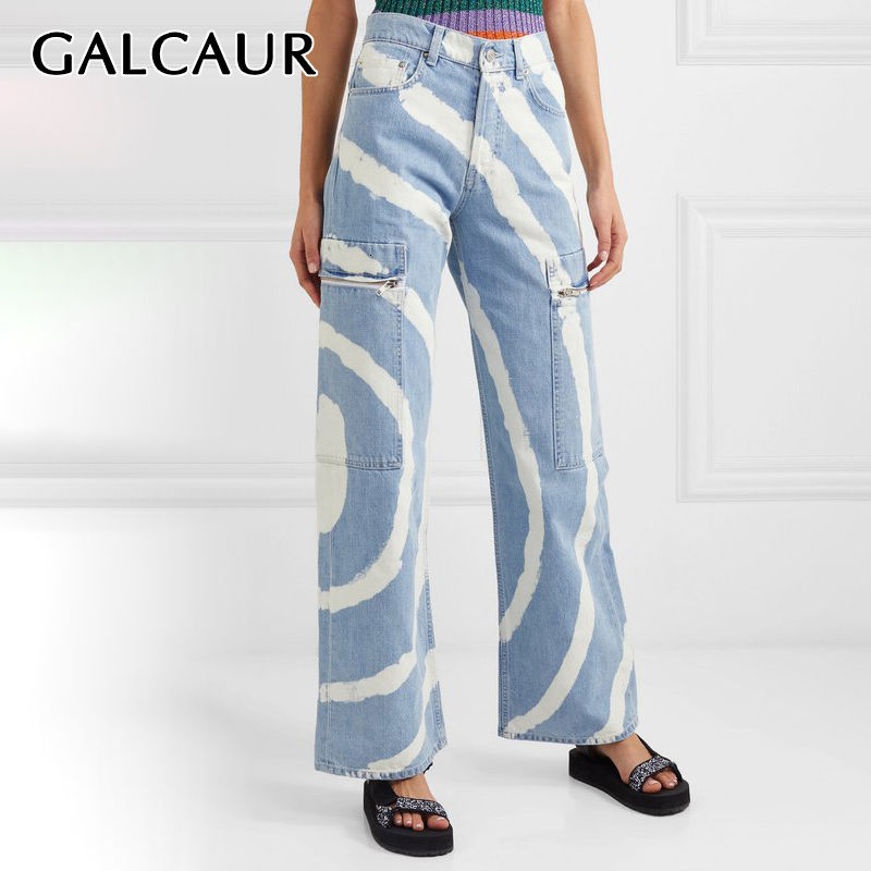GALCAUR Stripe Hit Color Denim Women's Pants High Waist Pocket Large Size Wide Leg Jeans Female 2020 Streetwear Summer Fashion