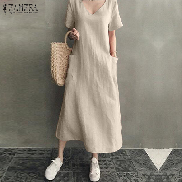 ZANZEA 2021 Women Long Maxi Summer Dress Casual Cotton Linen  Ladies Big Pockets Beach Party Robe Femme Vestidos Plus Size 5XL 1
