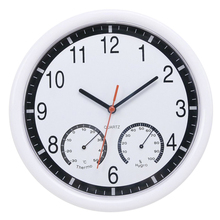 Modern Thermometer Humidity Display Clock Silent Home Kitchen Wall White Meter Clocks 24.4x3.5cm (Without Battery)