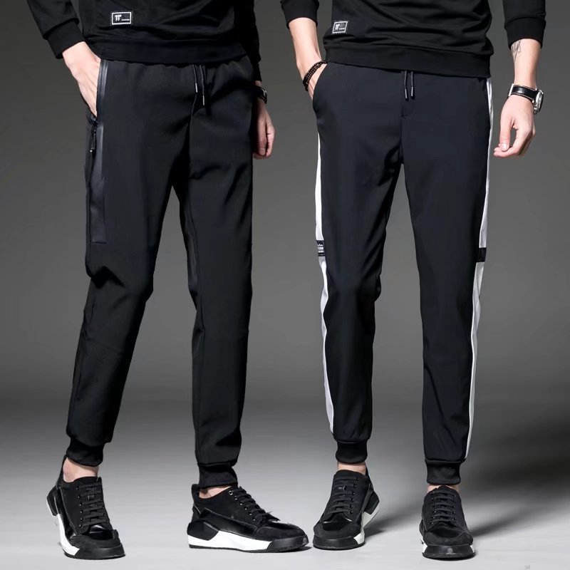 Spring And Autumn Students Casual Sports Pants Plus-sized Menswear Slim Fit Trousers Fat Skinny Pants Beam Leg Harem Men's Black