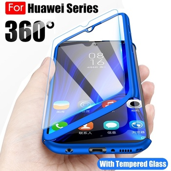 360 Full Body Phone Case for Huawei P40 P30 P20 Lite Pro Y5 Y6 Y7 Prime 2018 2019 Mate 30 20 Lite P Smart 2019 Cover with Glass 1