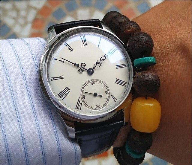 44mm GEERVO espelho convexo branco dial Asian 6497 17 jewels movimento Do Vento Mão Mecânica relógios relógio Mecânico dos homens gr313 g8