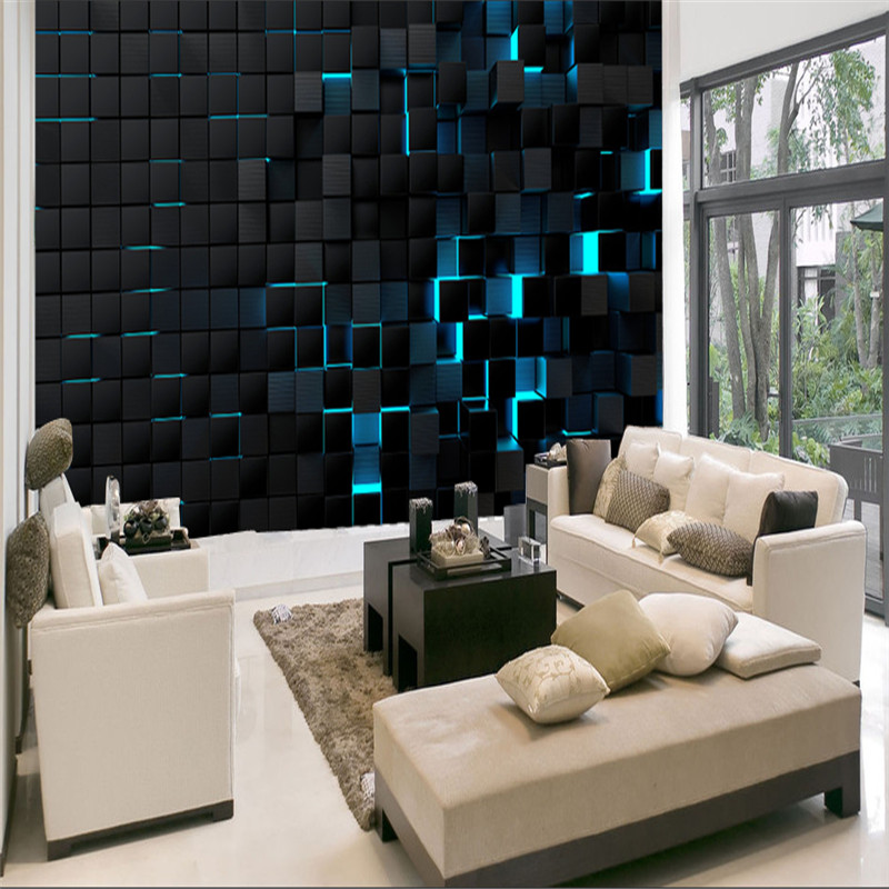 Modern Technology Mural Wallpapers For Office Esports Hall Living Room Wall Paper 3D Blue Light Shining Black Cubes Home Decor