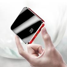 Przenośny Mini Power Bank 20000mah bateria zewnętrzna Powerbank do ładowarka do telefonu komórkowego LED ekran lustrzany Powerbank