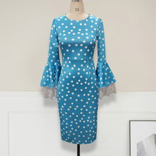 Lace Stitching Sleeve Midi Vinatge Dress Summer Blue Elegant Polka Dots O-Neck Bodycon Women's Dresses African Party Robe adogirl solid lace patchwork ruffle hem bodycon dress o neck long flare sleeve sheath midi party dresses office lady work wear
