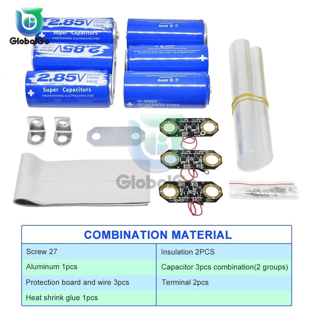 3pcs+3pcs 2.85V 3400F Super Farad Capacitor Ultracapacitor Protection Board 17V 566F Car Electrolytic Capacitor Battery