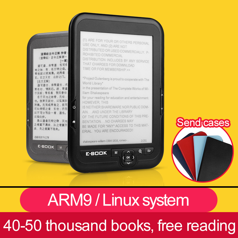 CLATE 4/8/16G E-ink E Book Linux Reader Ebook 3.5mm Headphone Eink Screen E-Book E-Reader with case MP3, WMA PDF HTML