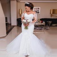 African Luxury Beading Mermaid Wedding Dress Long Sleeve Appliques Pearls Wedding Gowns Plus Size Black Bride Vestido de noiva